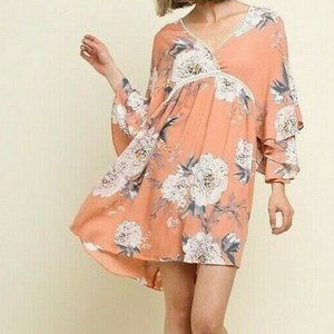 2/$50 Bluheaven Umgee Dress Blush Floral Crochet